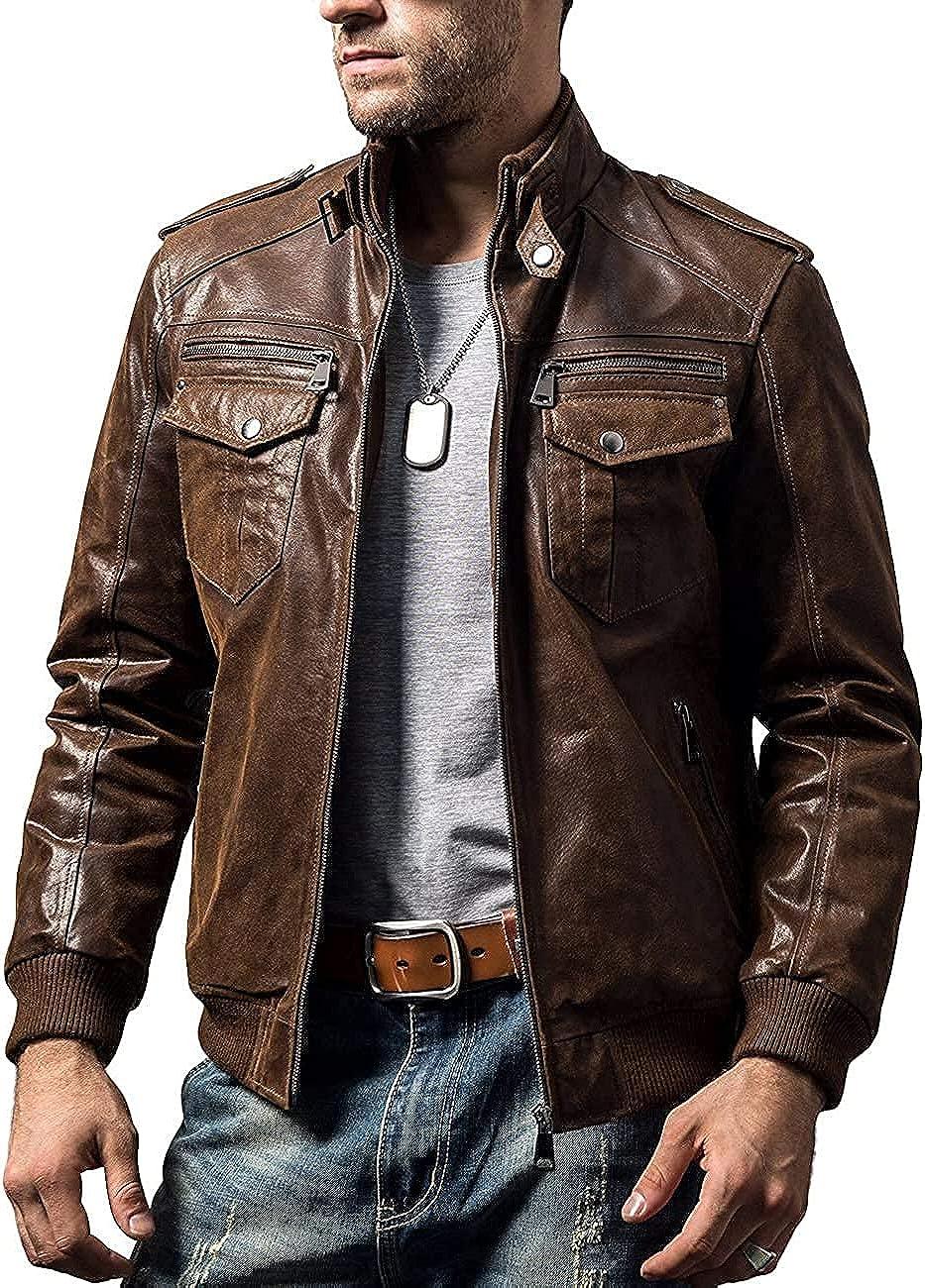 Mens Brown Leather Jacket Vintage Slim Fit Biker Retro Genuine jacket coat