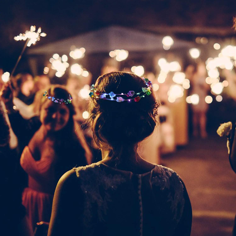 Ghirlanda Fiori LED, Joyibay 10 Pezzi Fascia Fiori Ghirlanda Corona Fiori per Ragazze Ghirlanda Floreale con 3 Diverse Modalità LED, Copricapo per Festa di Nozze
