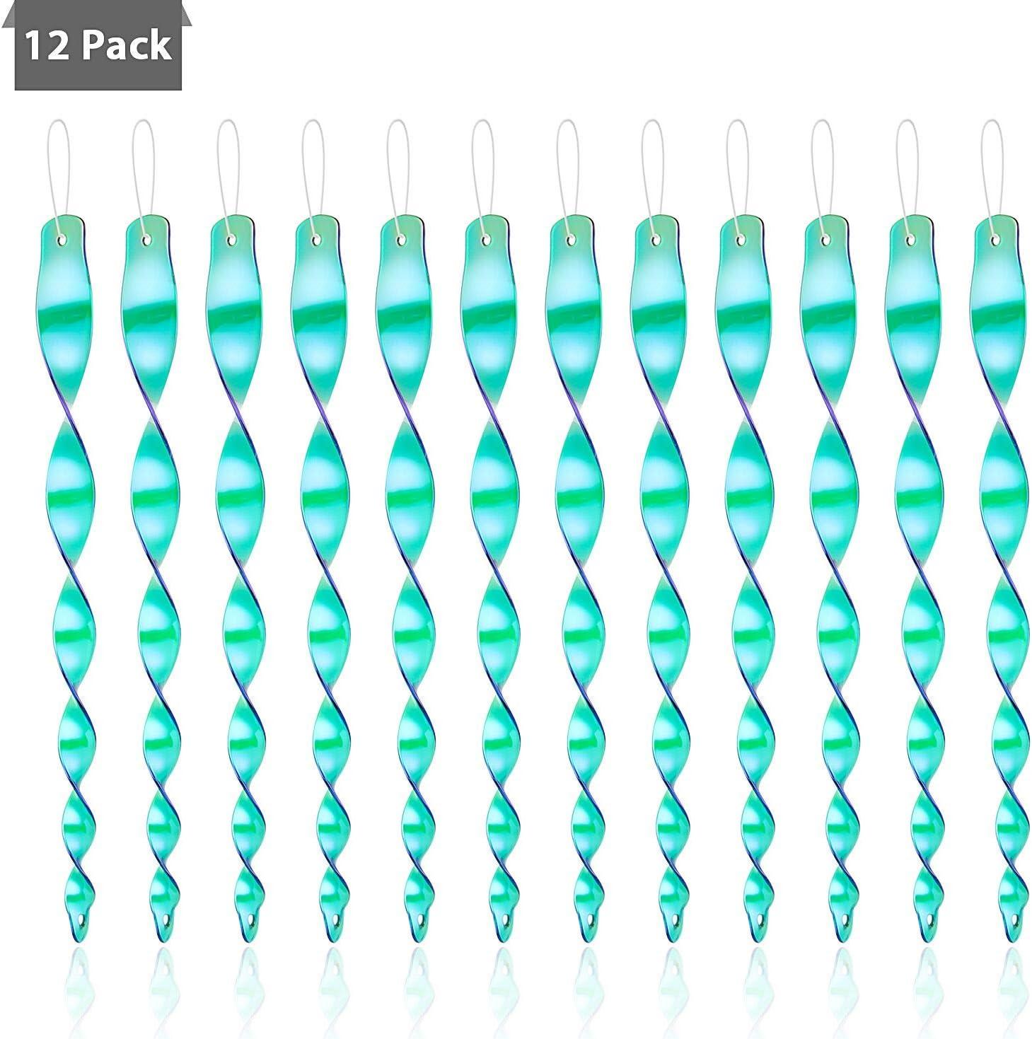 Colmanda Reflectantes Wind Espiral, 12 Piezas Ahuyentador de Pájaros Repelente de Aves 30cm Espiral de Viento Reflectante para Decoración de Jardín Hogar (3)