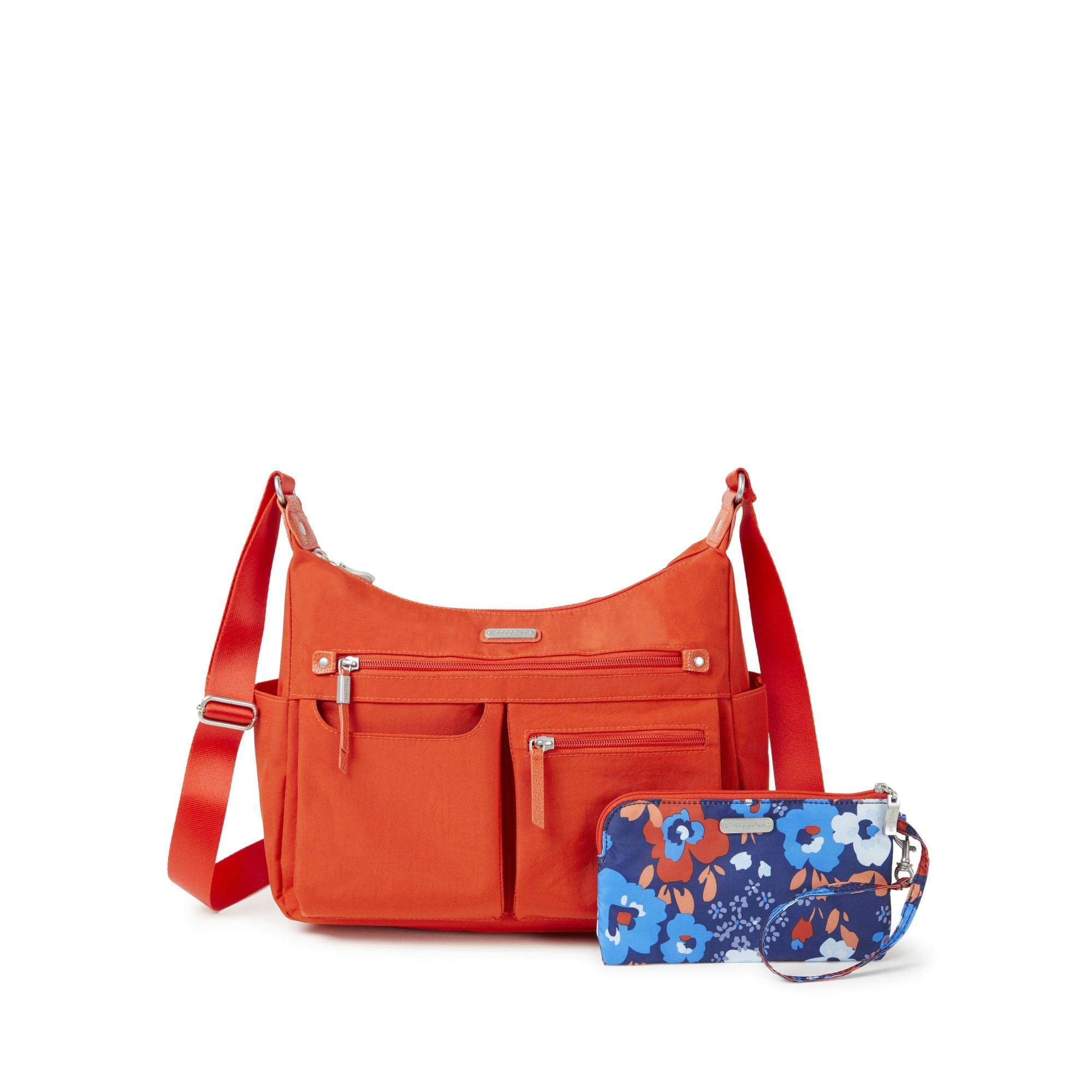 Baggallini Women's New Classic''Heritage'' Anywhere Large Hobo with RFID Phone Wristlet Vibrant Poppy One Size