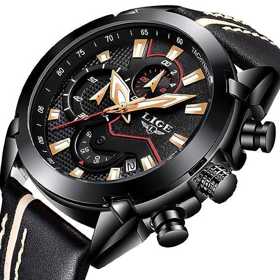 Relojes para Hombres, Moda Reloj de Cuarzo Reloj de Pulsera de Cuero LIGE Analógico Cronógrafo