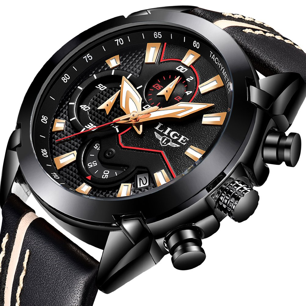 Mens Watches, Men Fashion Waterproof Sports Analog Quartz Watch Man Luxury Brand LIGE Chronograph Casual Black Leather Date Wrist Watch