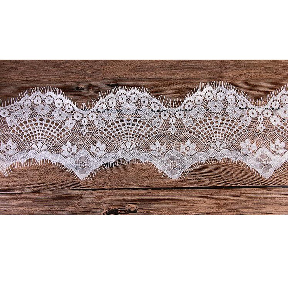 3.7 Inch Wide White Scallop Floral Lace Eyelash Dentelle DIY Sewing Fabric 3 Meters Pink butterfly house