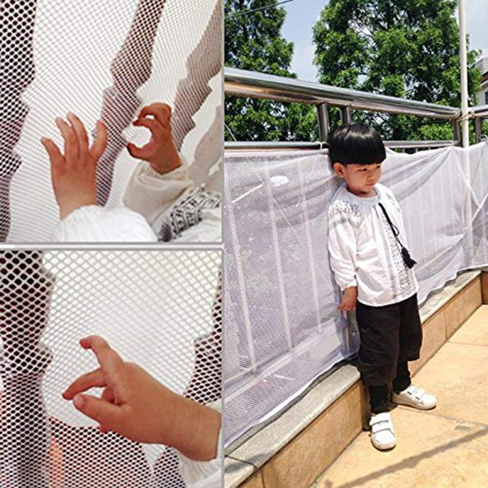 Child Safety Net - LengthWidth: 20077cm, Balcony, Patios and Railing Stairs Netting, Safe Rail Net for Kids/Pet/Toy, Sturdy Mesh Fabric Material, White Color