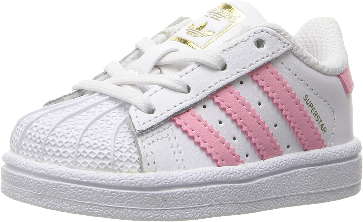 adidas Originals Kids Superstar, White Clear Light Pink Metallic Gold, 7K M US Toddler