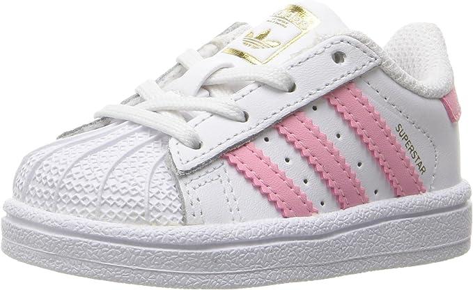 adidas Originals Kids' Superstar, White/Clear Light Pink/Metallic Gold, 5K M US Toddler
