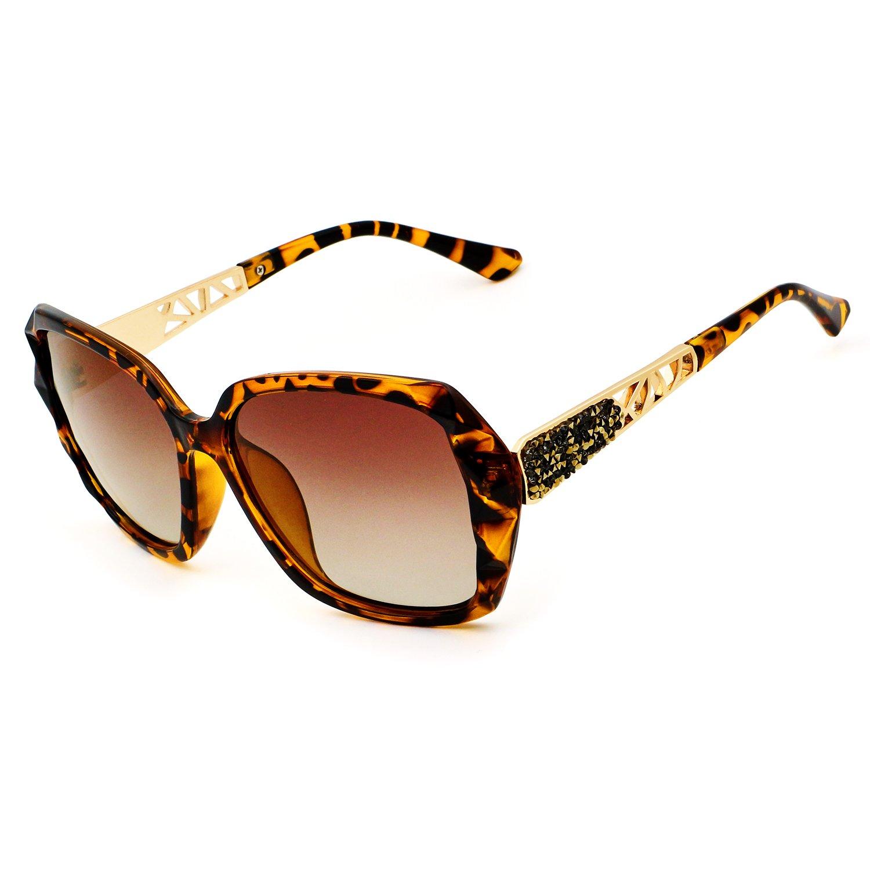 Leckirut Women Shades Classic Oversized Polarized Sunglasses 100% UV Protection Eyewear Leopard by LECKIRUT (Image #2)