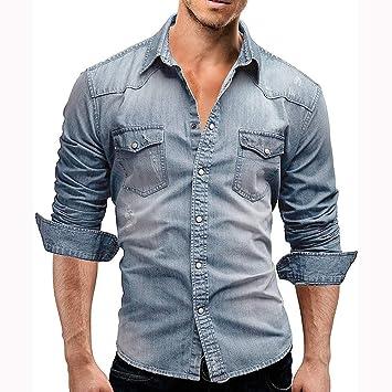 Camisa Hombre<BR>Camisa Casual de Manga Larga para Hombre Corte ...