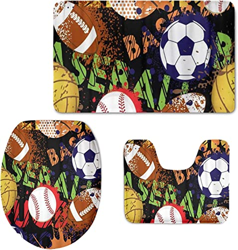 FKELYI Bathroom Set 3 Piece Football Baseball Print Bath Mat Rug Lid Toilet Covers Toilet Seat Cushion Non-Slip Rubber Backing Mat