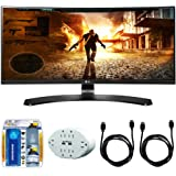 LG 29-Inch 21:9 UltraWide FHD (2560x1080) IPS Curved Monitor with FreeSync (29UC88) with 2x HDMI to HDMI Cable 6', 6 Outlet Wall Tap w/ 2 USB Ports White & TV/LCD Screen Cleaning Kit