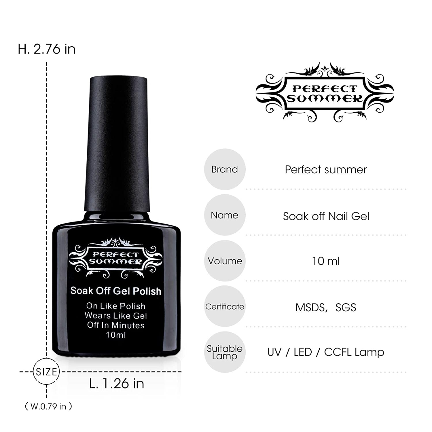 Amazon.com : Perfect Summer Black Colors Gel Nail Polishes UV/LED ...