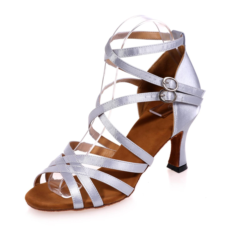 Weibliche Standardtanzschuhe Latin Satin Ballroom Sandalen (Farbe)   B077DHVZDM Tanzschuhe Stimmt