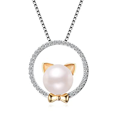 Collar de gato de plata de ley 925 con colgante de perla para regalo de cumpleaños de aniversario para mujeres de 45,72 cm: Amazon.es: Joyería