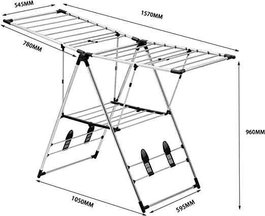 NEUN WELTEN Tendedero de Acero Inoxidable Plegable Perchero Largo 157cm (Clásico): Amazon.es: Hogar