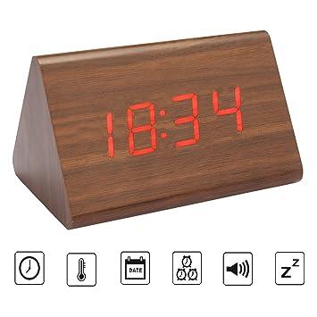 Reloj Despertador Digital de Madera con Función de Control de Sonido, LED Reloj (Marrón (LED rojo)): Amazon.es: Hogar