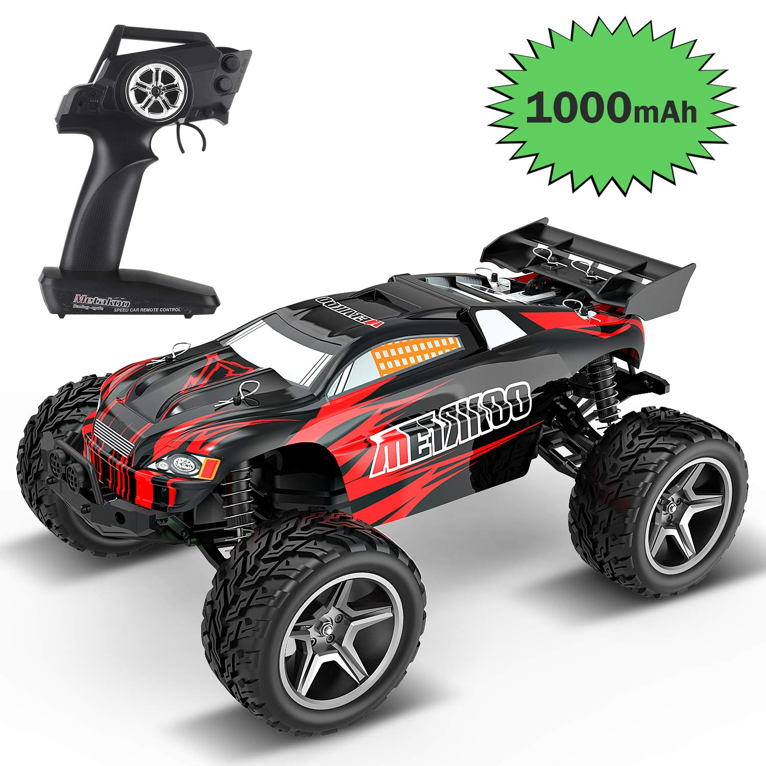 METAKOO CH1 Advanced RC Car, 1/12 Scale 2WD High-Speed Racing Drift Car, Speed up to 30~45 km/h, Two 1000mAh Batteries, Brushed Motor, Shock Absorber, 2.4GHz, for Kids & Adults