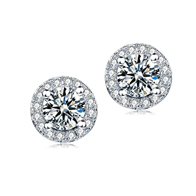 Jewel Encrusted Simulated diamond Sterling Silver Stud Earrings Ladies Micro Pave Halo Disc Earrings (10 mm) With Free Gift Box 2mzIVYUY