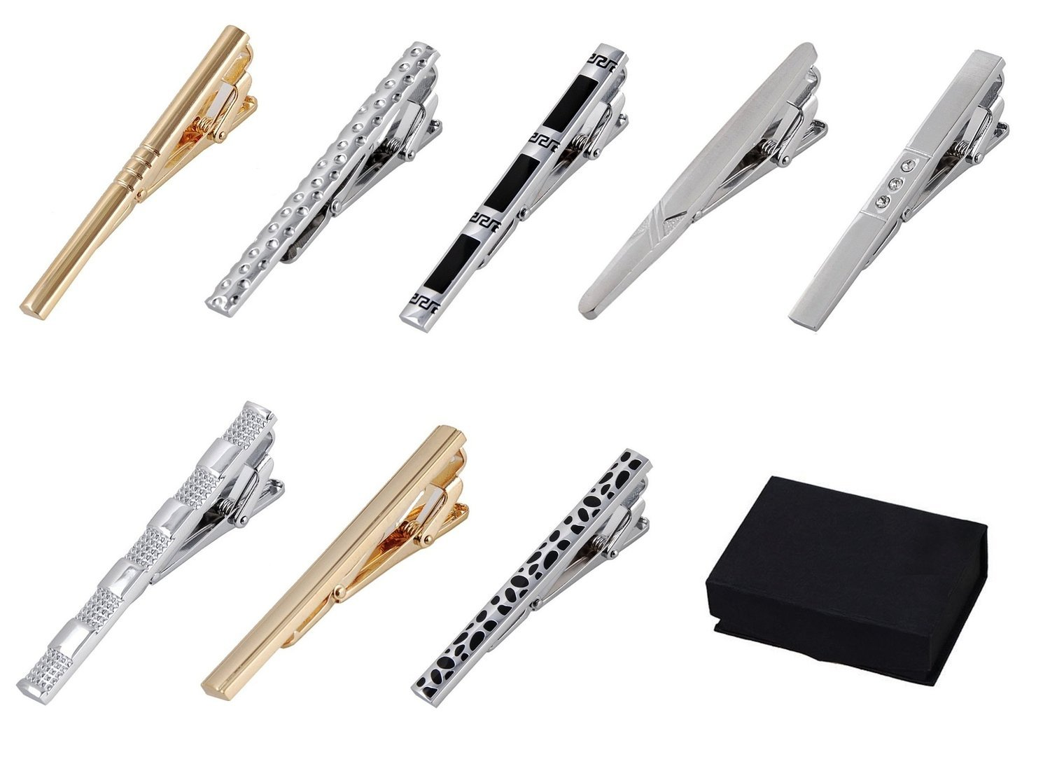 8 pc Tie Bar - Tie Clip Set, Silver Tone & Gold Tone, Black Gift Box