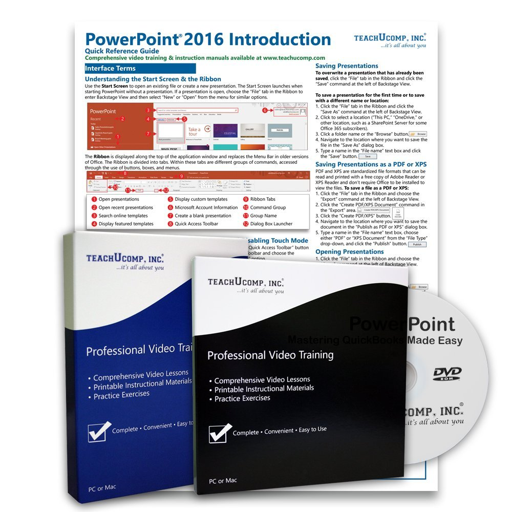 Learn Microsoft PowerPoint 2016 DELUXE Training Tutorial Package- Video Lessons, PDF Instruction Manuals, Laminated Quick Reference Guide, Testing Materials, and Certificate of Completion by TeachUcomp