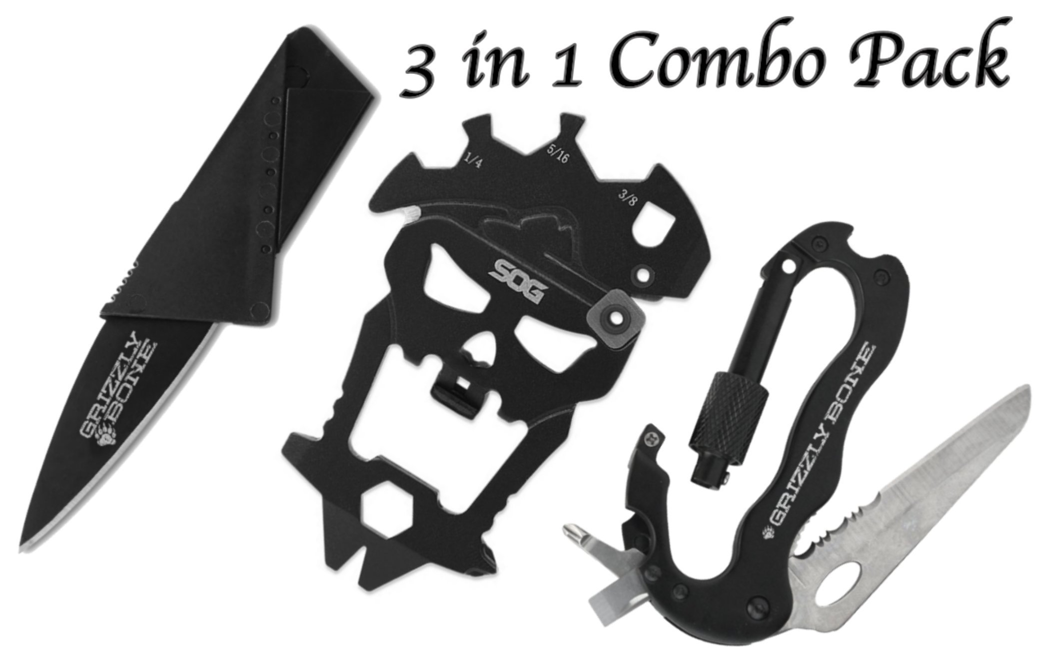 Combo Pack MacV Multi Tool Hardcased Black Blister Self Defense Weapon & Ultimate Survival Tool for Zombie Apocalypse Survival Kit w/ Free 5-in-1 Carabiner Multitool & Credit Card Knife Survival Life