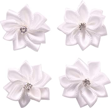 Satin Ribbon Bows with Diamante Flowers Self Adhesive Pack Of 12 Craft Wedding