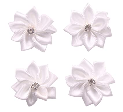 5034b694a6d2 Image Unavailable. Image not available for. Color  YAKA 60Pcs White Satin  Ribbon Flowers Bows ...