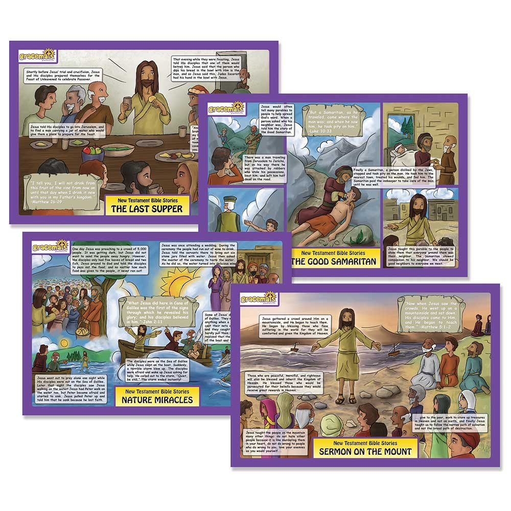 Dicksons Bible Stories Last Supper and Good Samaritan Colorful 11 x 17 Childrens Activity Place Mat Set of 2