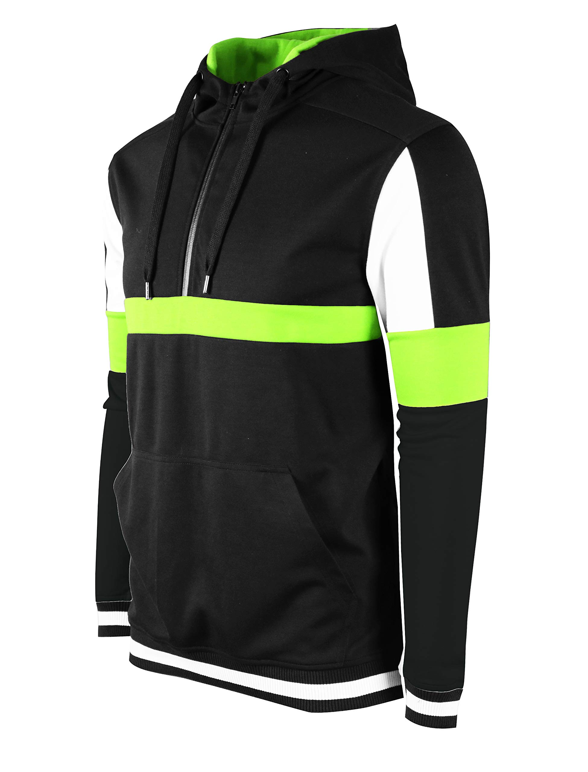 SCREENSHOT SPORTS-F11955 Mens Premium TechFleece Fashion Hoodie - Athletic Jogger Fitness Workout Gym Jacket-BK/NEON-Medium by SCREENSHOT