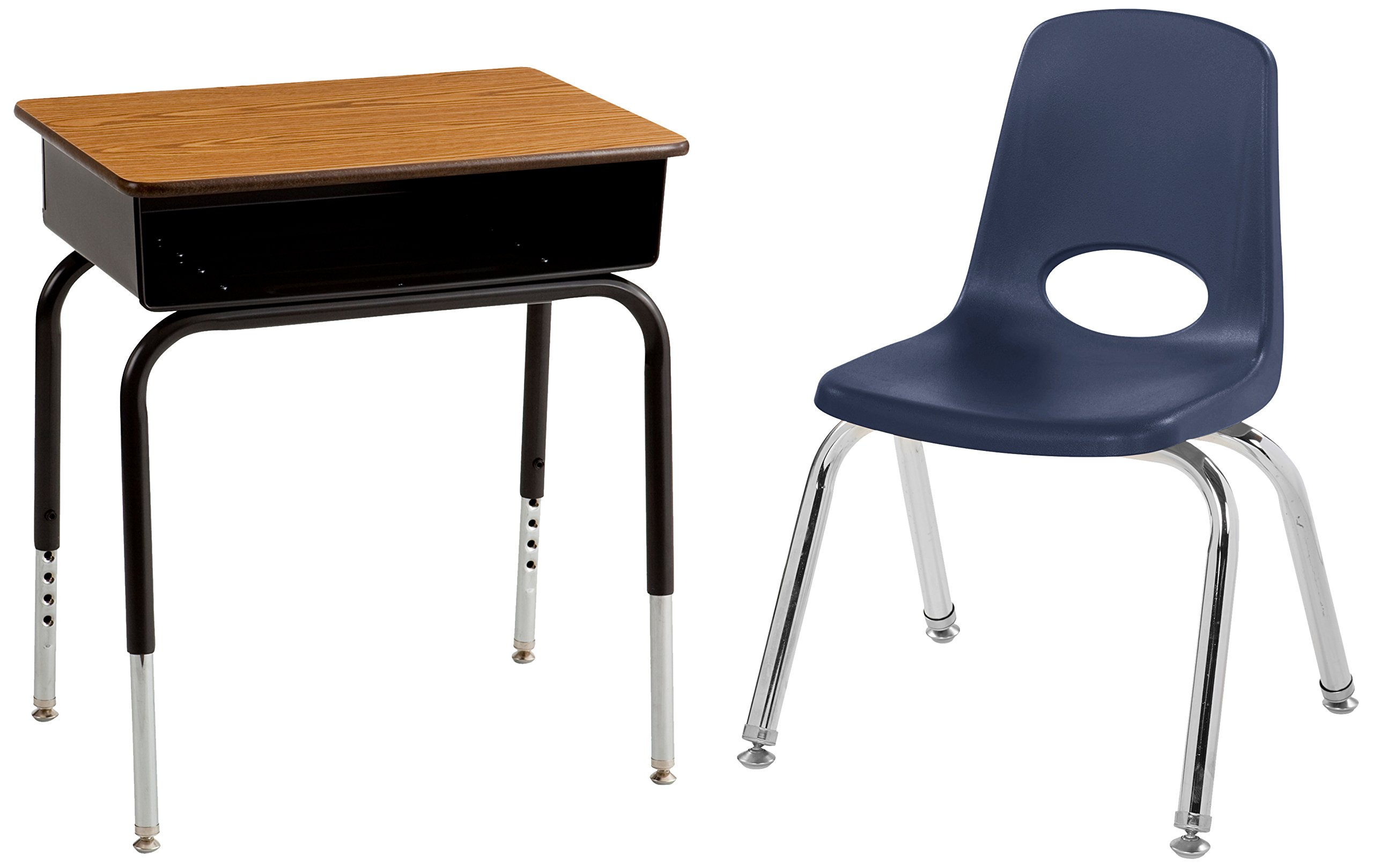 ECR4Kids 6 Oak Desks with Metal Book Box and 6 - 12'' Navy Stack Chairs