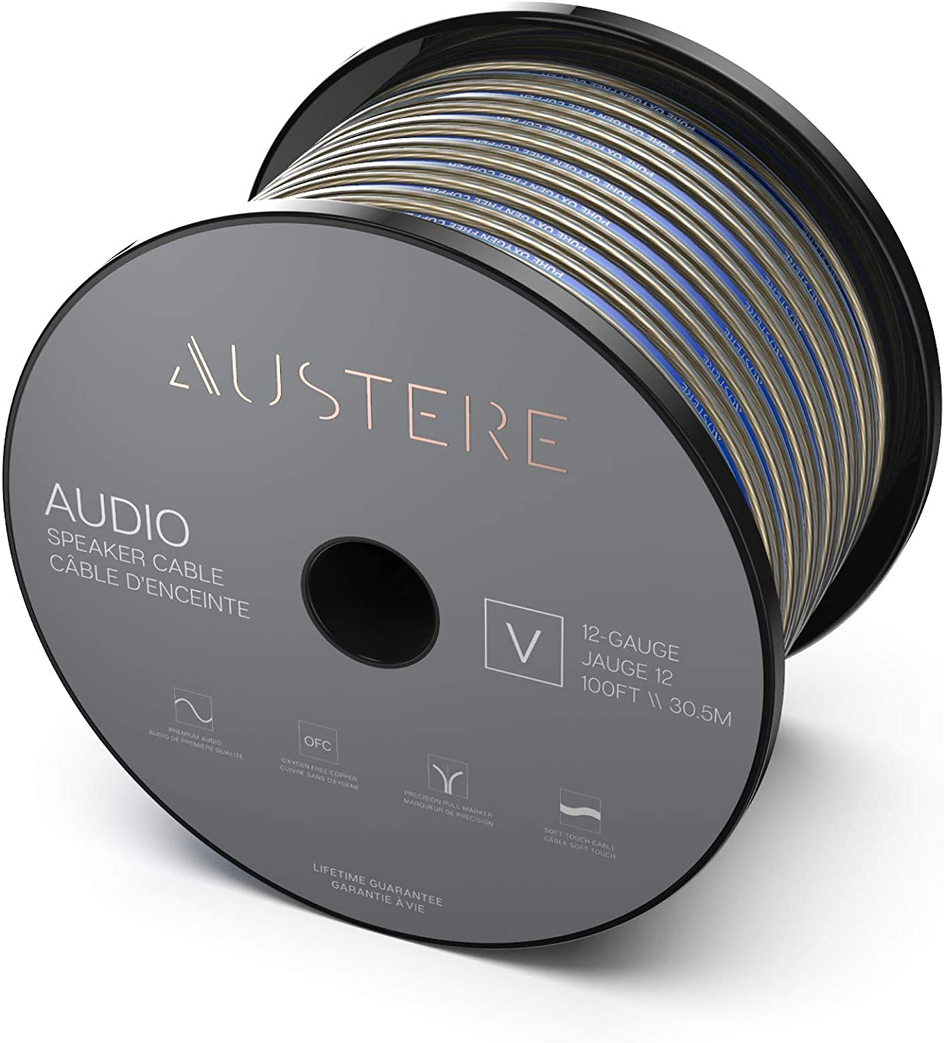 Austere V Series 12-Gauge 100ft Speaker Cable with Pure Oxygen Free Copper /& Precision Pull Marker