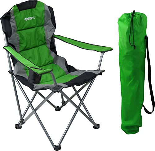 GigaTent Green Folding Camping Chair Ultra Lightweight Collapsible Quad Padded Lawn Seat with Full Back, Arm Rests, Cup Holder and Shoulder Strap Carrying Bag Powder Coated Steel Frame