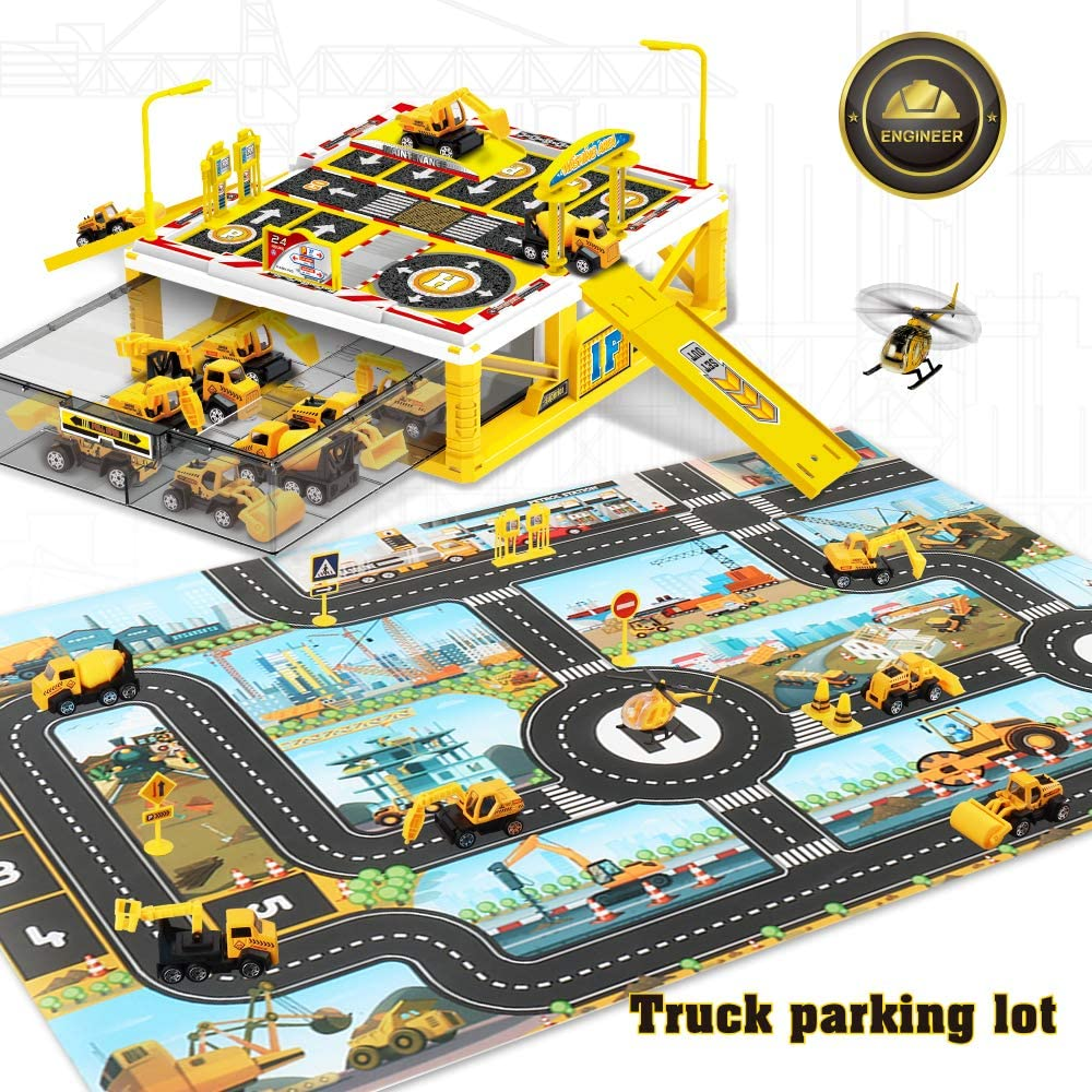 Bulldozer Road Roller Dwi Dowellin Construction Site Vehicles Toy Set with Play Mat,Excavator Ladder Truck,Helicopter,Good for 3 4 5 6 Year Old Boy Birthday Gift Mixer Trucks,Ground Hammer