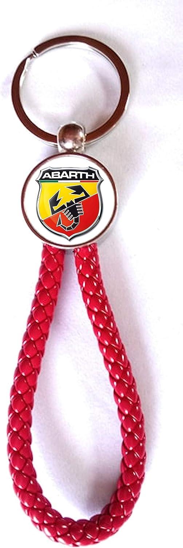 Schlüsselanhänger Red Dynamic Kunstleder Metall Fiat Abarth 2 Seiten Bekleidung