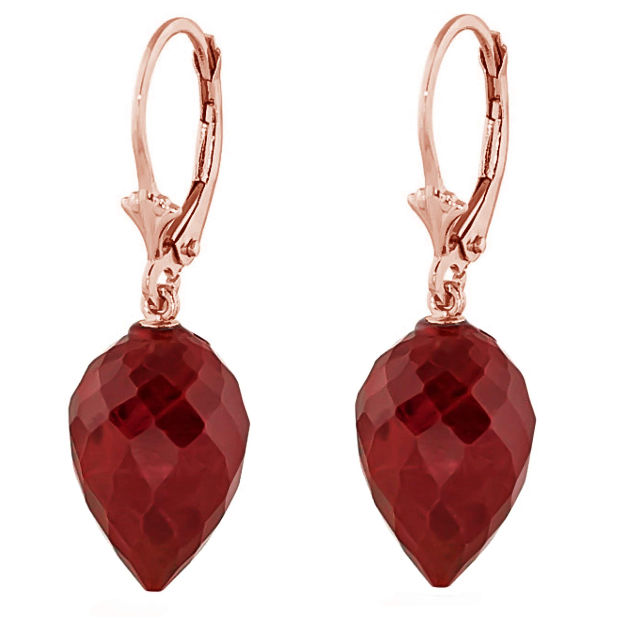 Galaxy Gold 14k Solid Rose Gold Leverback Earrings with Drop Briolette Natural Rubies