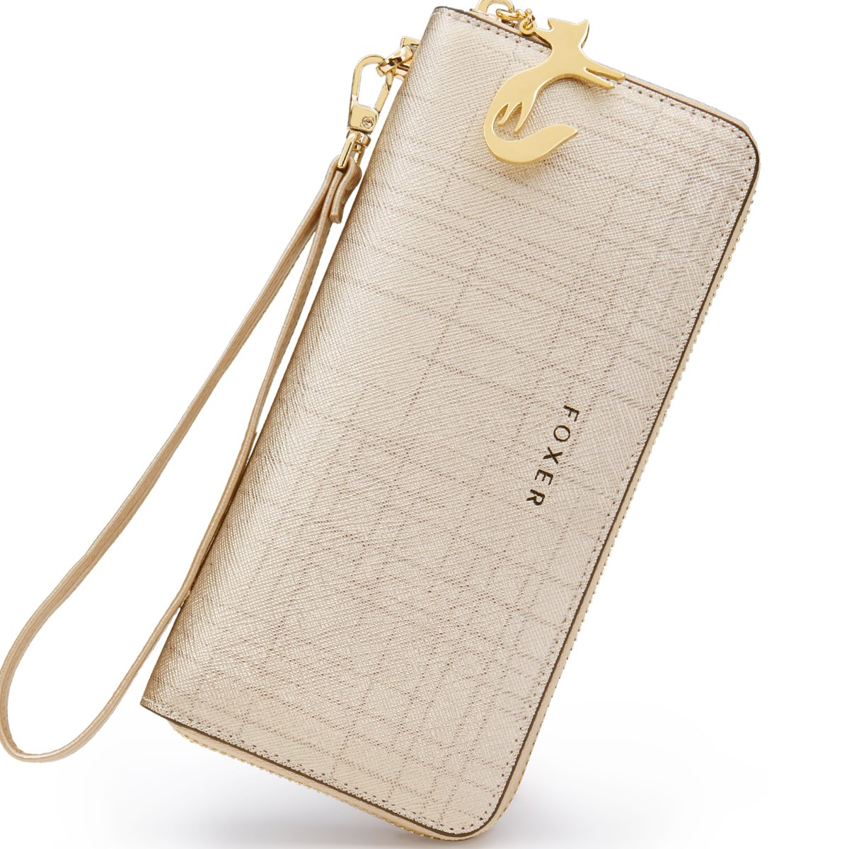 FOXER Women Leather Wallet Bifold Wallet Clutch Wallet with Wristlet (Gold)