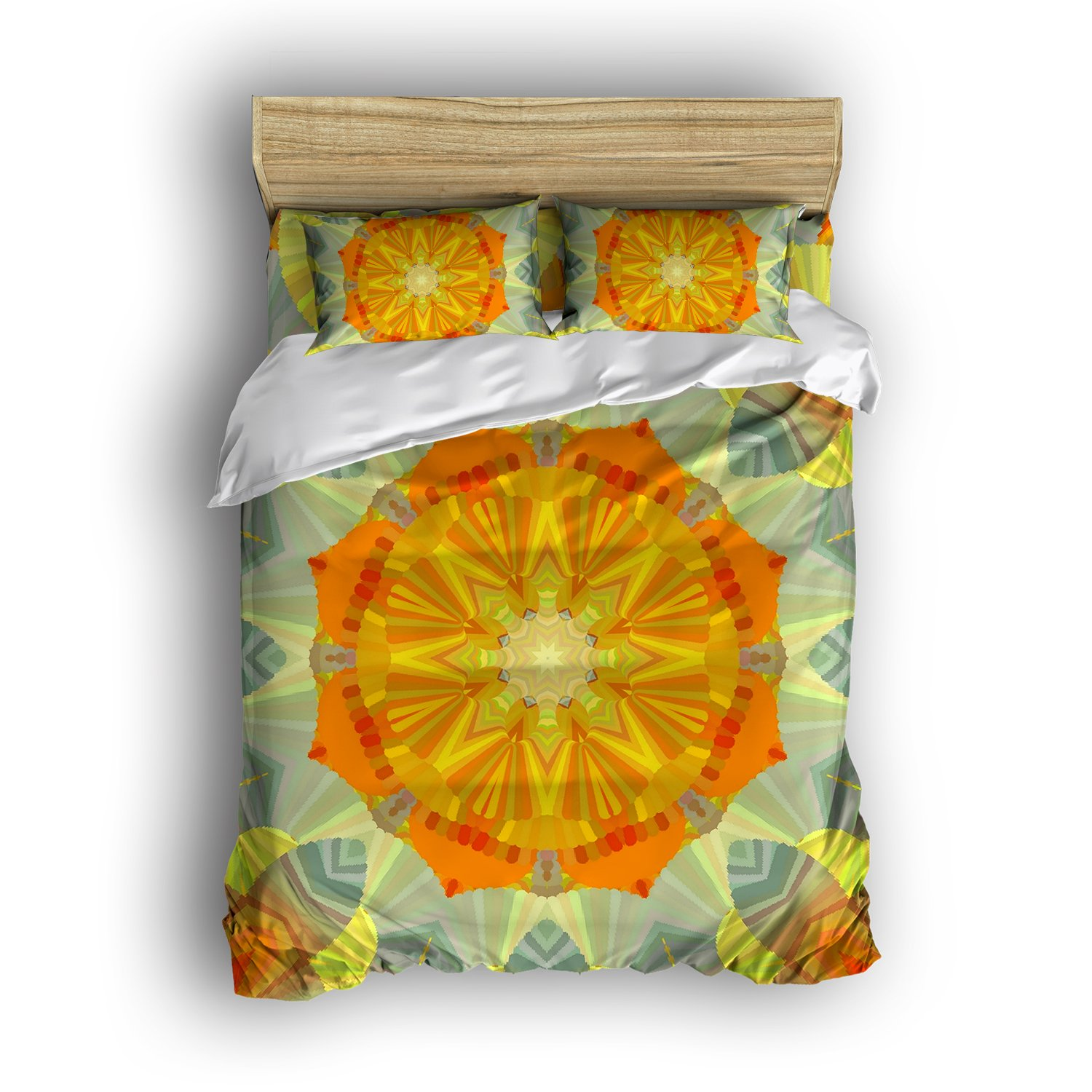 Dioline Bohemian Style Lightweight Cotton Vintage Mandala Floral Twin Quilt Bedding Cover Sets Double Brushed Boho Mandala Four Piece Bedding Sets