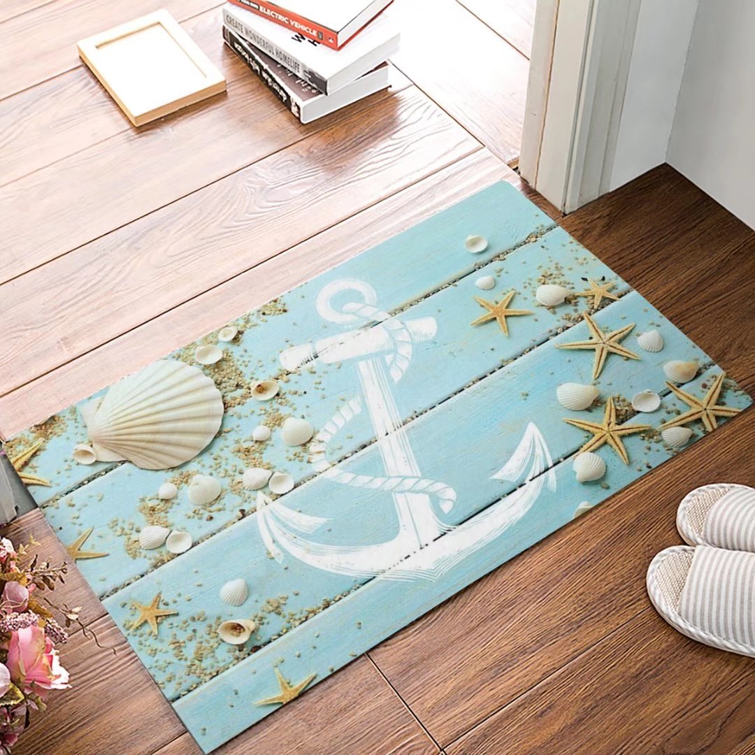 Decor Love 3D Printing Non-slip Doormats Mud Dirt Trapper Mats Entrance Rug Shoes Scraper Floor Indoor/Outdoor/Kitchen/Garden/Patio(Beach Themed Nautical Seashell, Starfish, Anchor) 16 x 24inch