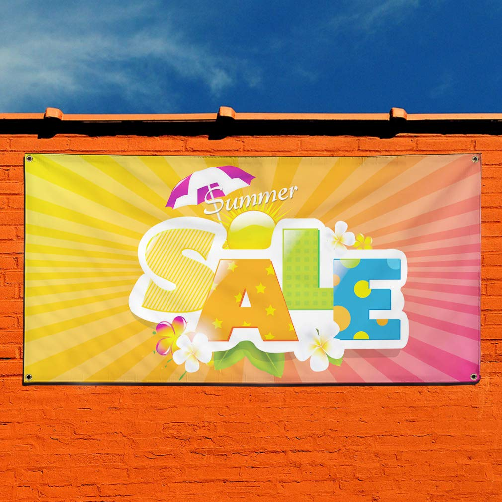 One Banner Multiple Sizes Available 8 Grommets Vinyl Banner Sign Sale #1 Style P Business Outdoor Marketing Advertising Yellow 44inx110in