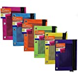PowerTRC 3-Ring Bright Color Pencil Pouches with Mesh Window for School, Work, Or Home (Assorted Colors) (6)