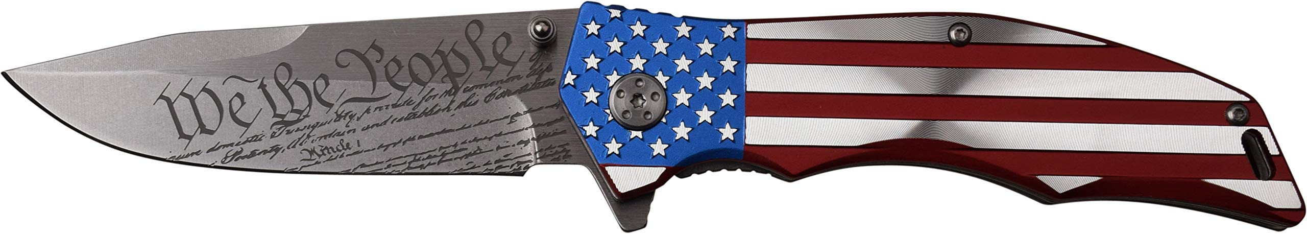 MTECH USA MX-A849CL Spring Assist Folding Knife, Straight Edge Blade, American Flag Handle, 5'' Closed