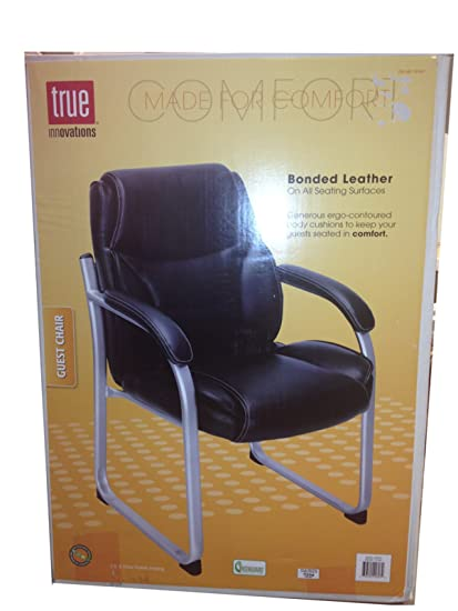 Peachy True Innovations Black Bonded Leather Guest Chair Amazon Co Machost Co Dining Chair Design Ideas Machostcouk