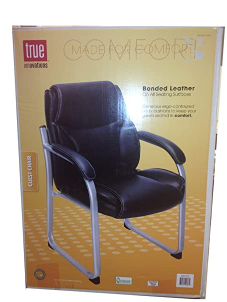 true innovations black bonded leather guest chair amazon co uk