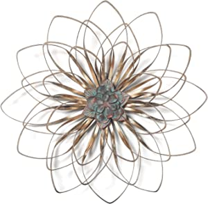 Adeco Metal Flower Wall Decor, Home Accent Wall Hanging Art for Nature Home Art Decoration & Kitchen Gifts, Golden Brown
