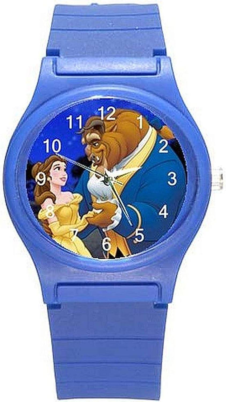 Belleza y la Bestia On A Las Niñas (Royal) Color Azul plástico Reloj & Banda