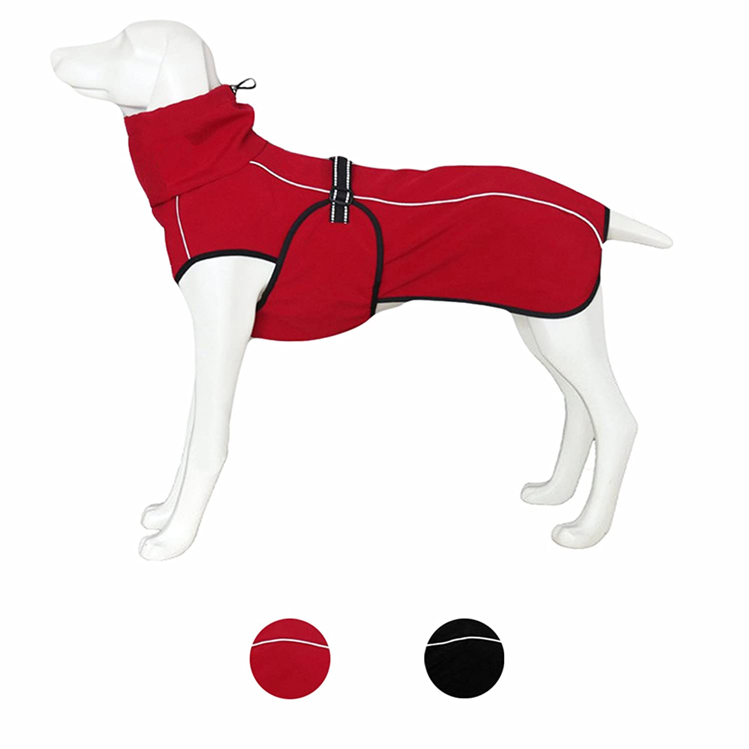 red winter dog coat