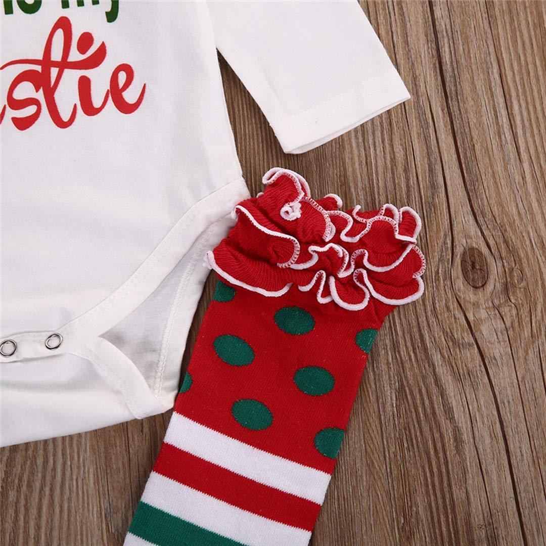 Newborn Baby Girls Long Sleeve Rompers Stripe Leg Warmers and Headband Christmas Layette Sets