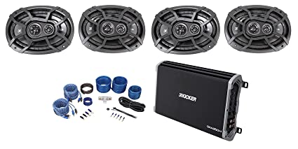 Kicker 43DXA2504 4-Channel 60Wx4 Car Audio Amplifier+(4) 6x9 Speakers+Amp