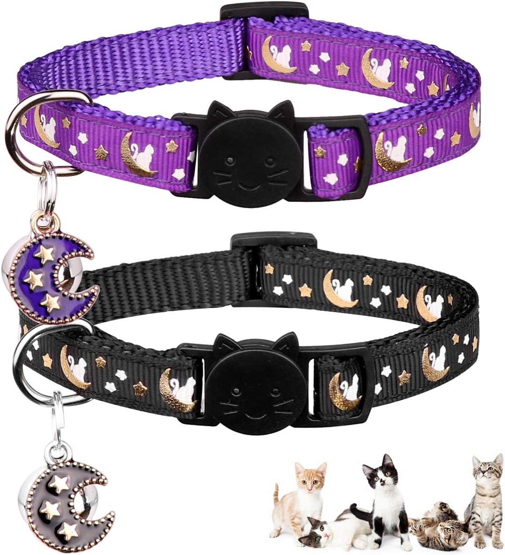 2PCS Breakaway Cats Collars with Bell Moons Stars Adjustable Kitten Collars with Pendant Glow in The Dark 71lU3w1HRVL