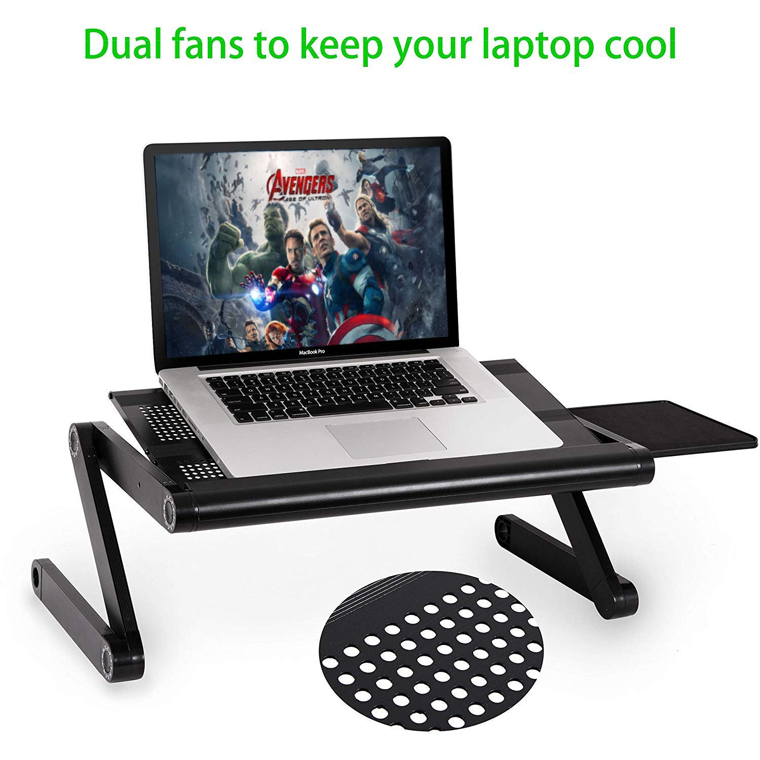 Laptop Table Stand,Portable Laptop Stand for Desk & Bed - Adjustable Riser Lap Tray Stand-Up Computer Lapdesks with Mouse Pad Side Compatible MacBook,Notebook & Tablets for Size up to 17'' (48cm) by YOJULY (Image #3)