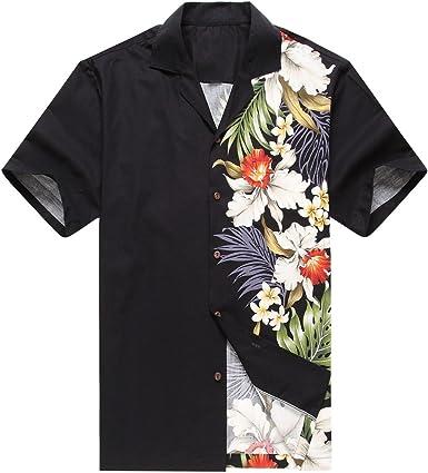 Hecho en Hawaii Camisa Hawaiana de los Hombres Camisa Hawaiana Orquídea Lateral Floral Negro: Amazon.es: Ropa y accesorios